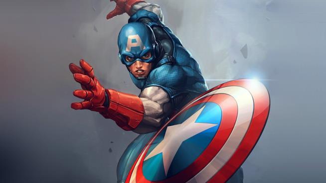 Captain America lancia il suo scudo in una vignetta Marvel