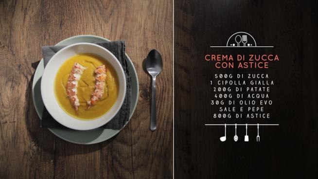 Gli ingredienti per una prelibata crema di zucca con astice