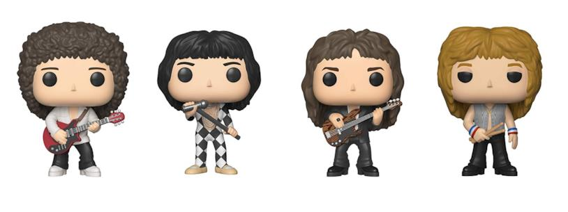 Da sinistra: i Funko Pop di Brian May, Freddie Mercury, John Deacon e Roger Taylor