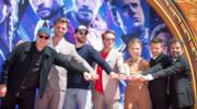 Tony Stark, Steve Rogers, Thor, Nebula e Thanos nel poster Dolby Cinema del film Avengers: Endgame