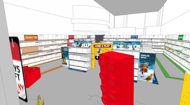 Dettagli di uno dei progetti degli interni dei pop-up LEGO Store