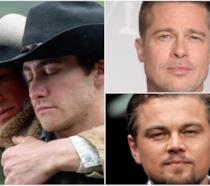 Collage tra Brokeback Mountain, Brad Pitt e Leonardo DiCaprio