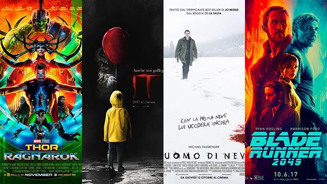 Le locandine dei film Thor: Ragnarok, IT, Blade Runner 2049 e L'Uomo di Neve