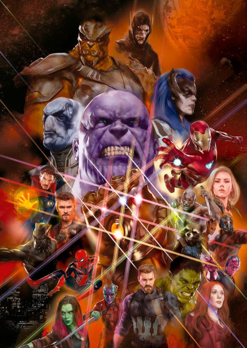 Gli Avenger e il Black Order di Thanos in una promo art di Infinity War