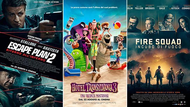 I poster dei film Escape Plan 2, Hotel Transylvania 3 e Fire Squad - Incubo di fuoco