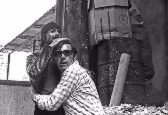 Umberto Lenzi con Tomas Milian sul set de Il giustiziere sfida la città