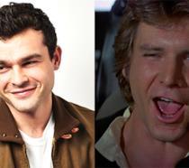 Harrison Ford nel ruolo di Han Solo e l'attore Alden Ehrenreich