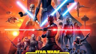 Una immagine promozionale di The Clone Wars con Obi-Wan Kenobi, Anakin Skywalker e Ahsoka Tano