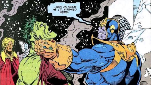 La potenza di Thanos annienta Hulk