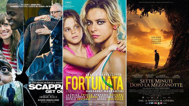 Le locandine dei film Scappa - Get Out, Fortunata e Sette Minuti Dopo la Mezzanotte