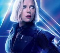 Un primo piano di Vedova Nera nel poster ufficiale di Infinity War