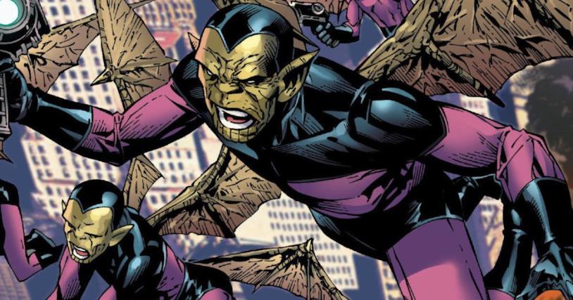 Gli Skrull in una sequenza a fumetti tratta da un albo Marvel