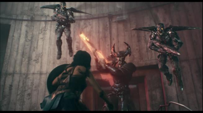 Steppenwolf e I suoi seguaci combattono contro Wonder Woman