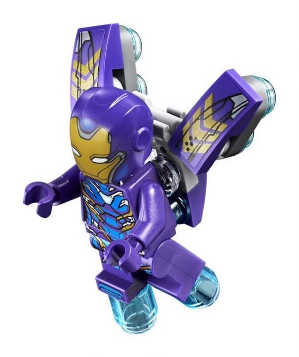 La versione LEGO dell'armatura Rescue di colore viola, indossata da Pepper Potts