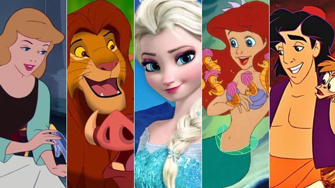 Cenerentola, Simba, Elsa, Ariel e Aladdin