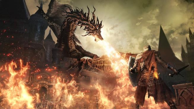 L'eroe di Dark Souls III combatte con un drago