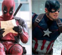 Ryan Reynolds e Chris Evans coi costumi di Deadpool e Captain America