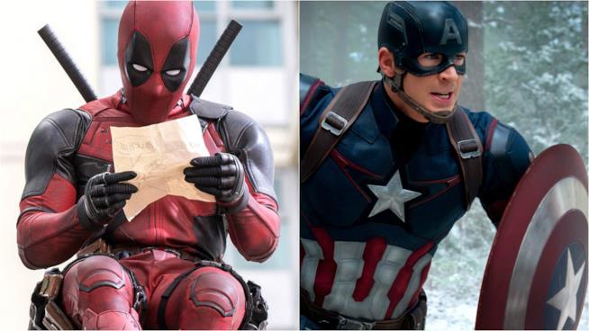 Ryan Reynolds e Chris Evans coi costumi di Deadpool e Captain America