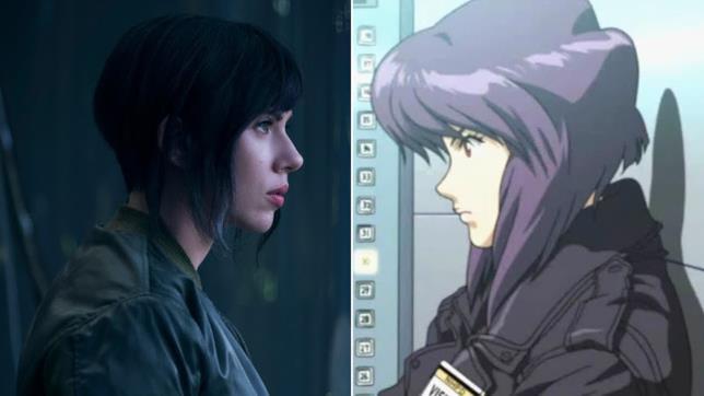 Scarlett Johansson in confronto col personaggio del manga