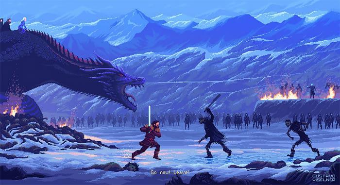 Gustavo Viselner illustra serie TV e film in pixel art