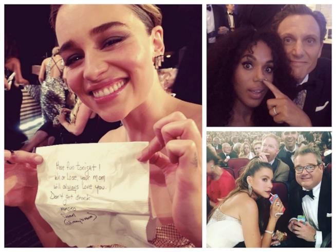 Alcune immagini condivise dalle celebrities su Instagram durante gli Emmy Awards 2016