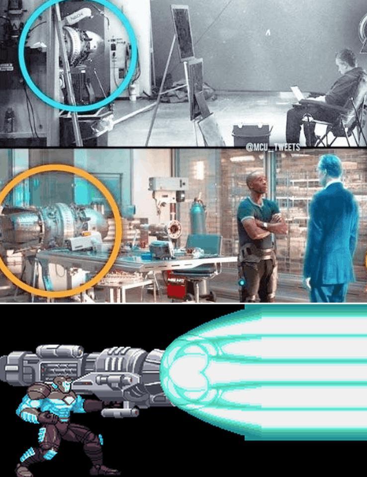 Foto provenienti dal set di Avengers 4, da Avengers: Infinity War e da Marvel vs. Capcom 2: New Age of Heroes che mostrano il cannone protonico