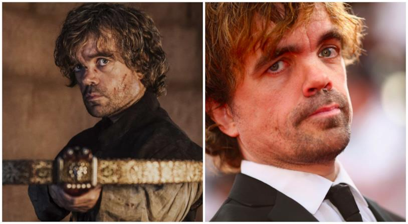 Un collage tra Tyrion Lannister e Peter Dinklage