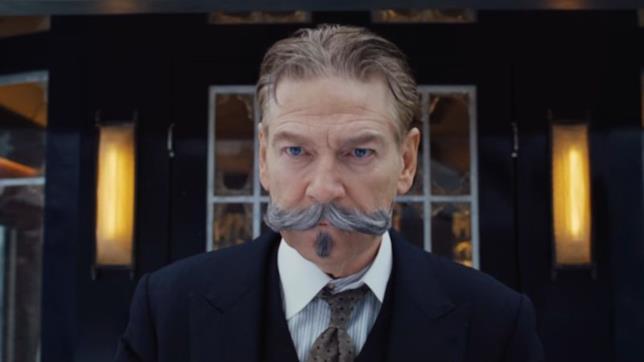 Assassinio sull'Orient Express, una scena con primo piano di Poirot