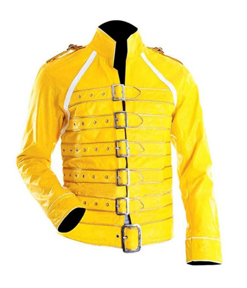 Giacca gialla pelle simil-Freddie Mercury