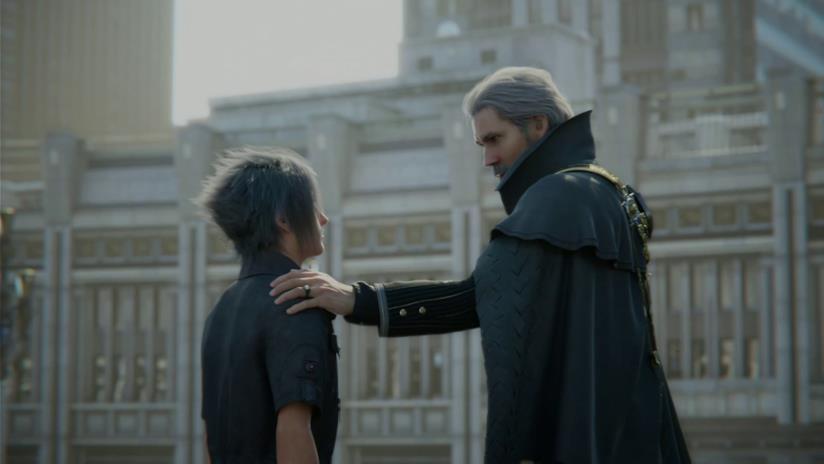 Regis e Noctis in una scena del film di FFXV