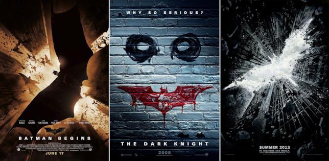 I poster della trilogia del Cavaliere Oscuro