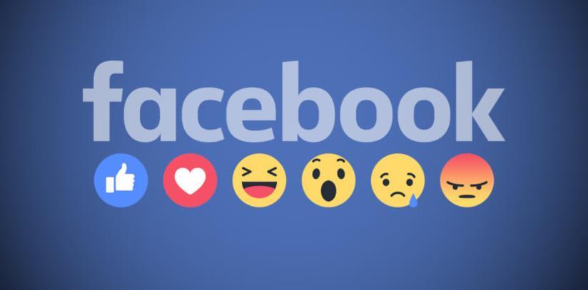 Il logo di Facebook e le emoji delle reaction