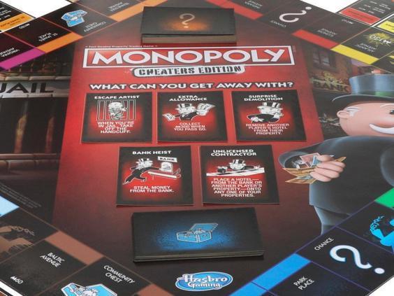 Primo piano della plancia di gioco dell'edizione Monopoly Cheater's Edition