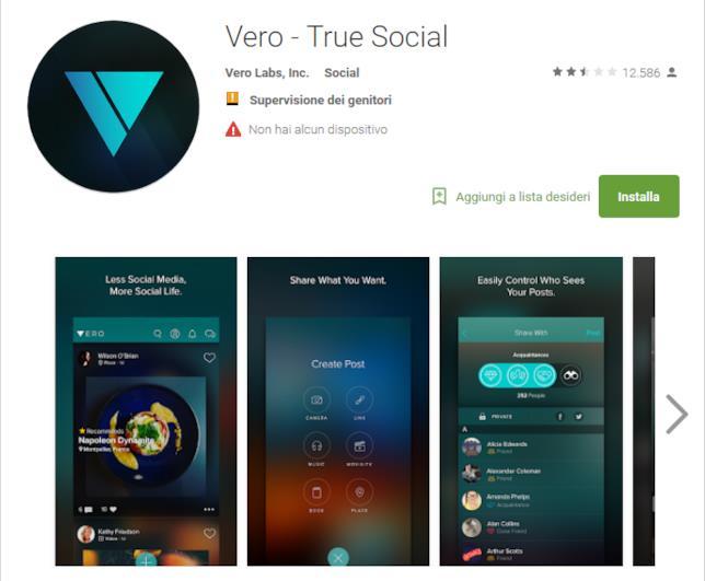 App di Vero su Google Play Store per i dispositivi con Android