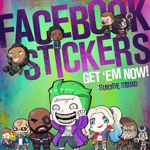 Il Joker e Suicide Squad negli Sticker Facebook