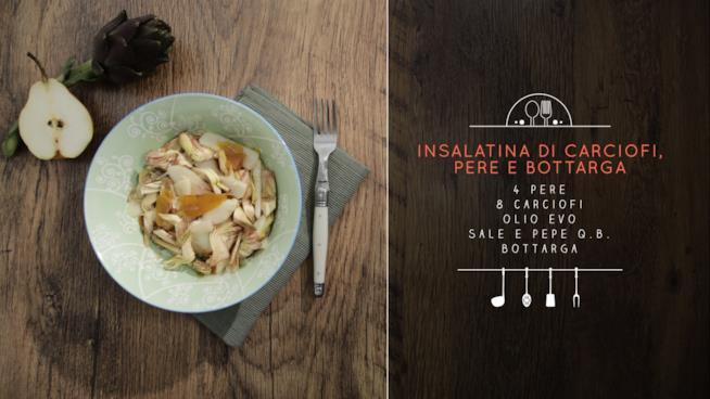 Scopri gli ingredienti per un'insalatina di carciofi, pere e bottarga speciale