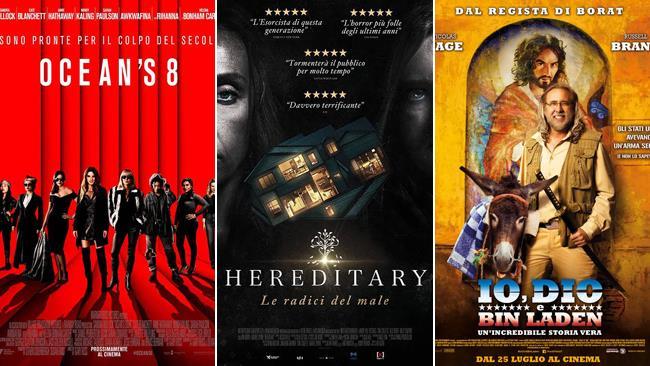 I poster dei film Ocean's 8, Hereditary e Io, Dio e Bin Laden