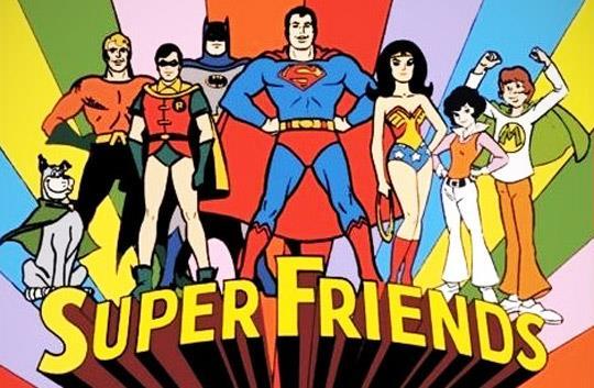 Scena della sigla del cartoon Super Friends