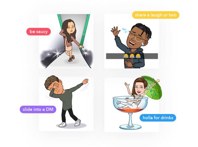 Alcuni esempi delle Bitmoji che potranno essere utilizzate per flirtare su Tinder.
