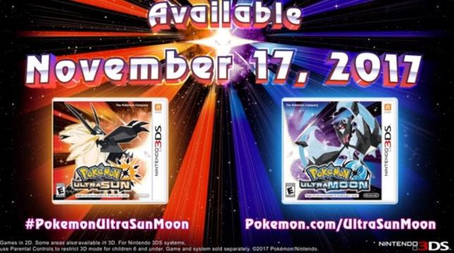 Pokémon Ultrasole e Ultraluna in uscita il 17 novembre