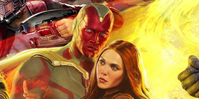 Un primo piano di Visione e Scarlet Witch nel poster promozionale di Avengers: Infinity War