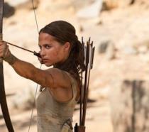 L'attrice Alicia Vikander nel ruolo di Lara Croft nel film Tomb Raider