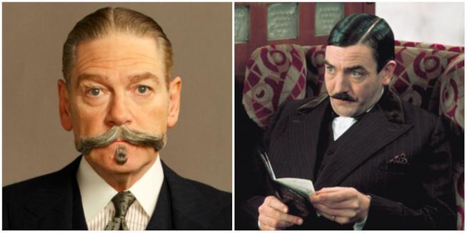Un collage tra Poirot di Kenneth Branagh e di Albert Finney