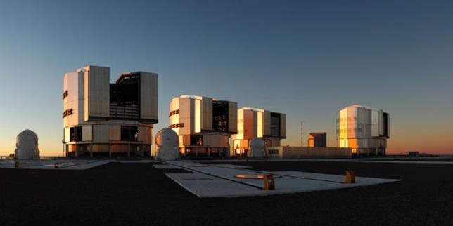 Il VLT dell'ESO presso l'osservatorio del Paranal in Cile.