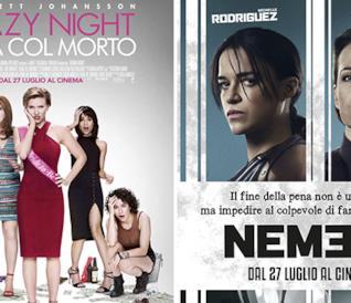 Le locandine dei film Nemesi e Crazy Night
