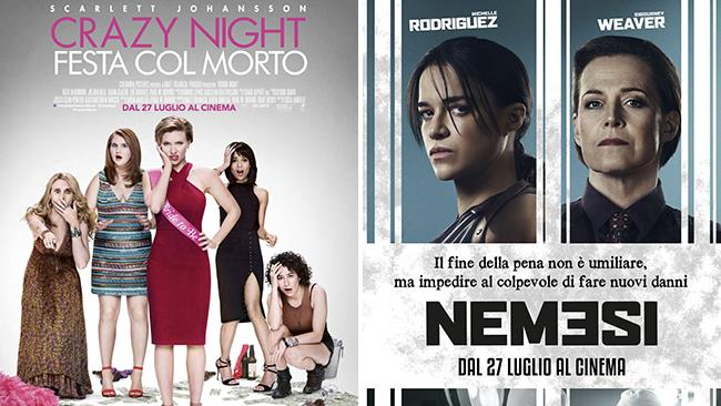Le locandine dei film Nemesi e Crazy Night