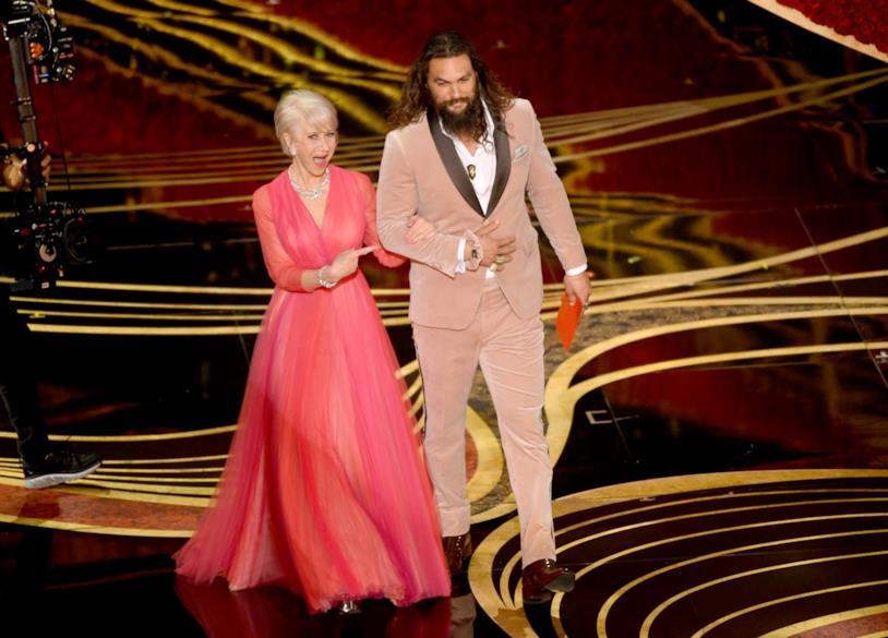 Jason Momoa ed Helen Mirren agli Oscar