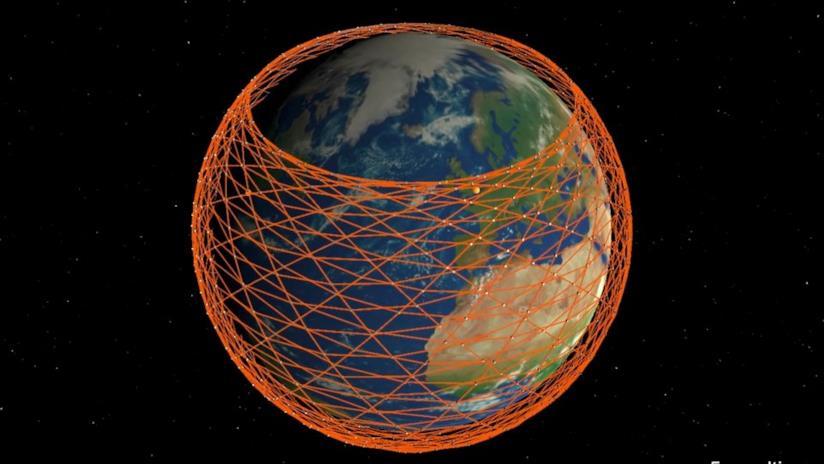 Una rappresentazione della rete satellitare Starlink realizzata da Mark Handley