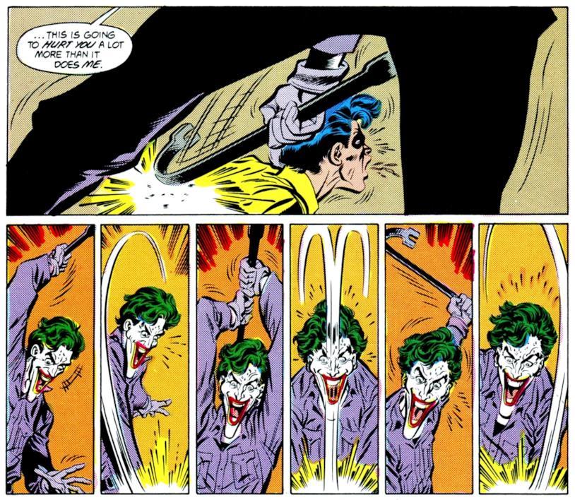 Sequenza di vignette disegnate da Jiim Aparo, nelle quali il Joker massacra Robin