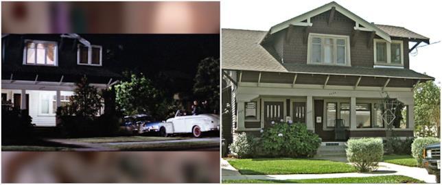 Collage tra casa Frenchie di Grease nel film e nella realtà